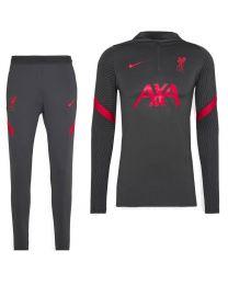 Nike Liverpool Dry Strike Trainingspak 2020-2021 Antraciet Rood